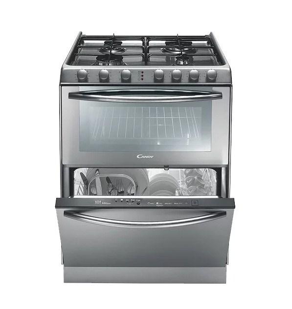 Модель Candy TRIO9501X 3 в 1 включает в себя газовую панель, электрическую духовку и посудомоечную машину