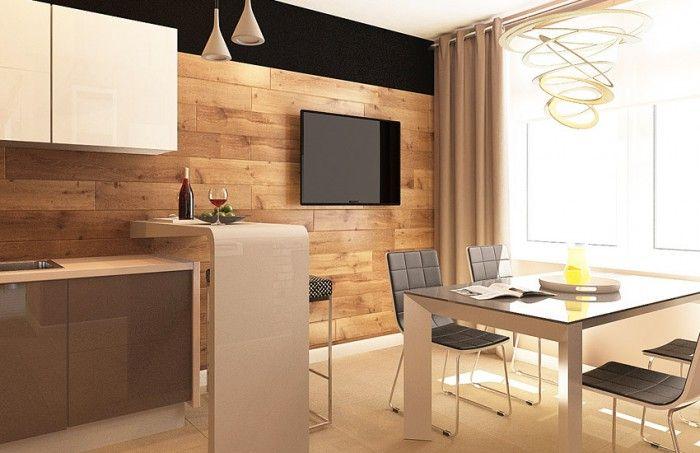 Вариант оформления стены кухни ламинатом.