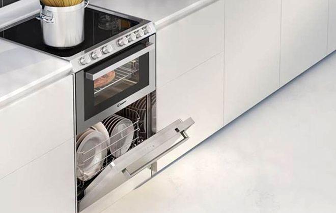Встроенная в гарнитур плита с посудомойкой