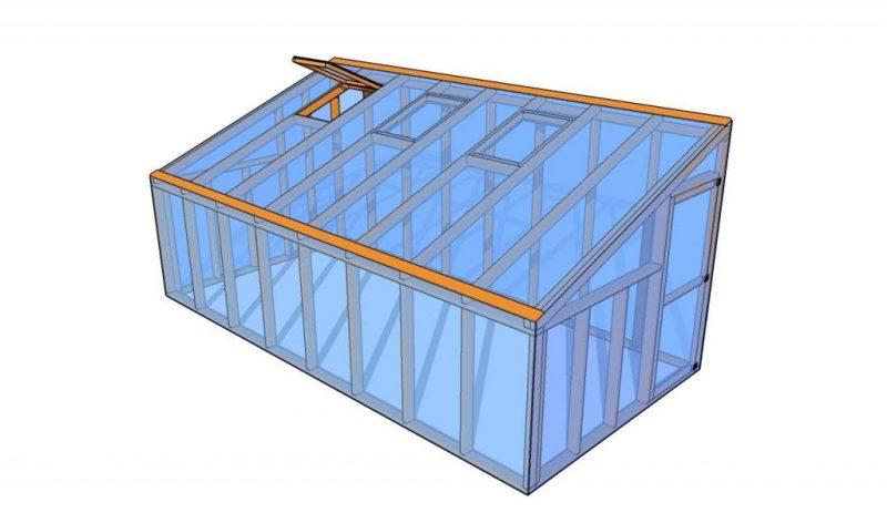 Проект теплицы с односкатной крышей