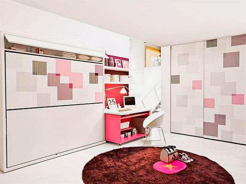 Фото двухъярусной шкаф-кровати в интерьере комнаты девочек подростков