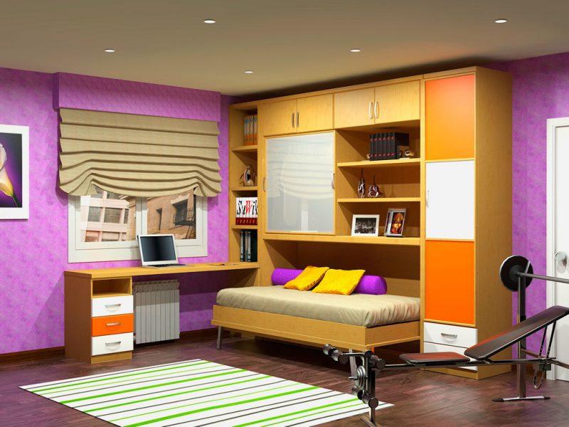 Модель шкаф кровати трансформера для подростка с горизонтальным типом раскладывания