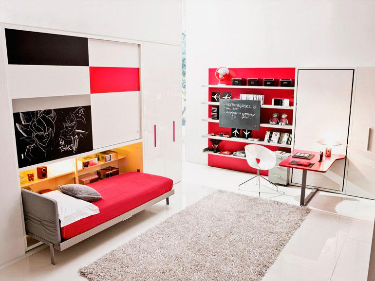 Трансформируемая в шкаф кровать для подростка в комнате
