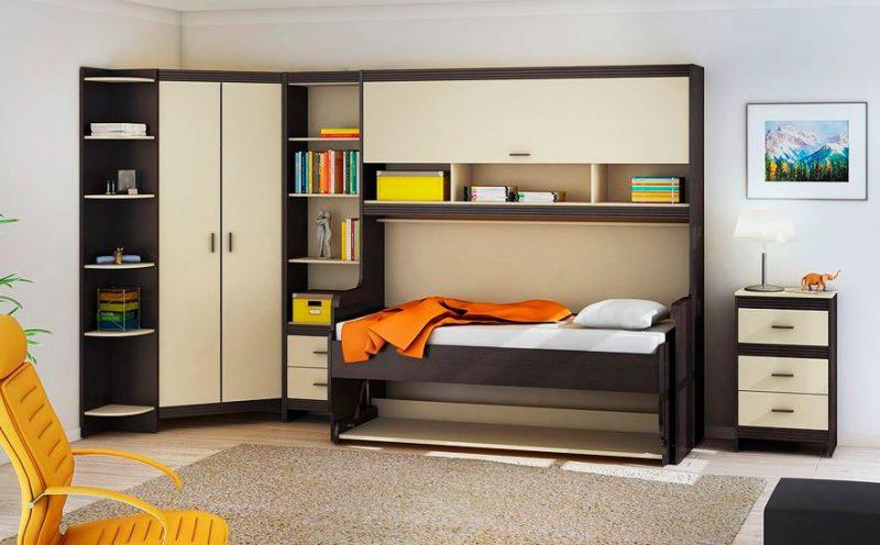 Трансформируемая шкаф кровать в комнате подростка