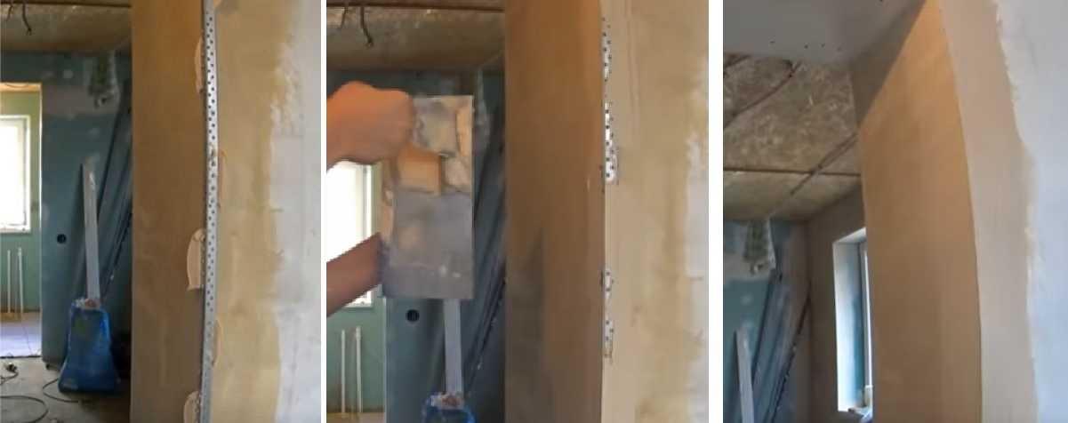 Оформление наружных углов гипсокартонных стен при помощи перфорированного уголка