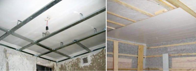 Монтаж пластиковых панелей на потолок - каркасы из металлических профилей и деревянных брусьев