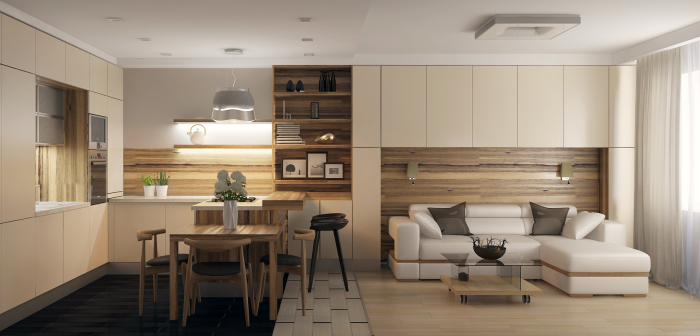 Уютный интерьер кухни-гостиной.