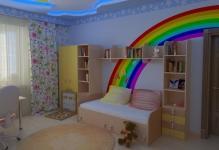 rainbow-kids-room-ceiling-decorations-white-colorful-nursery-stylish-with-ornament-vintage-racks-design-elegant-and-modern