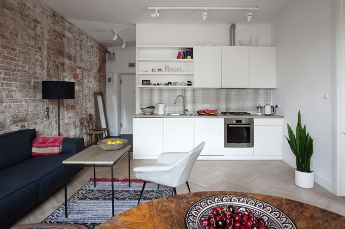 Кухня-гостиная с элементами лофта.