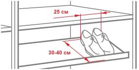 Правило расположения полок для обуви