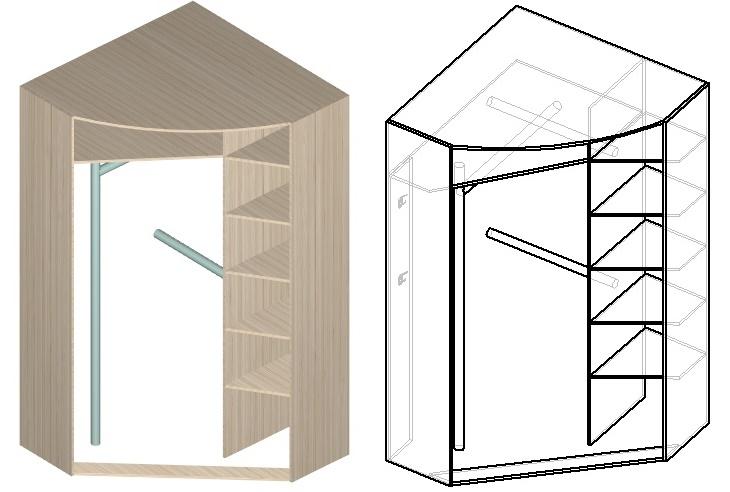 чертеж углового шкафа-купе в прихожую