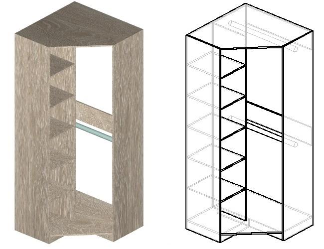 чертеж углового шкафа с 2 штангами