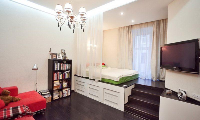 Гостиная-спальня в одной комнате в 17 кв. м