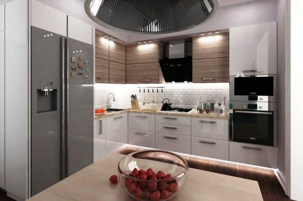 Еще пример установки встроенной техники даже с большим холодильником