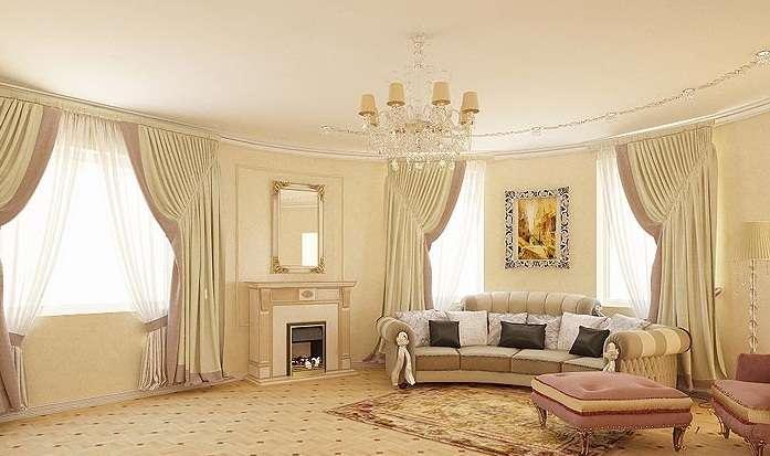 Гостиная в классическом стиле с эркером
