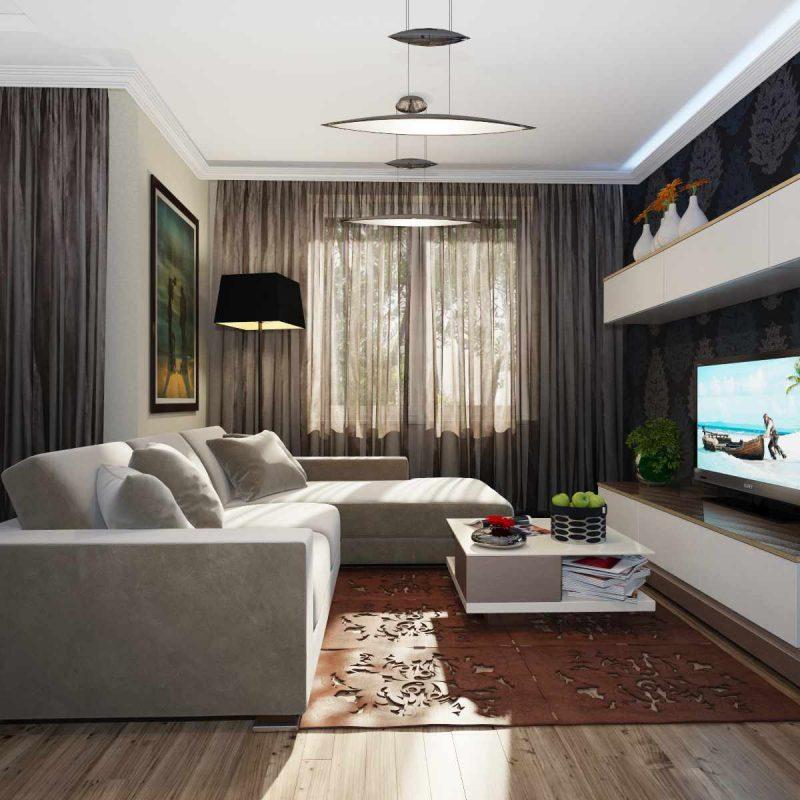 идея красивого дизайна гостиной комнаты 17 кв.м
