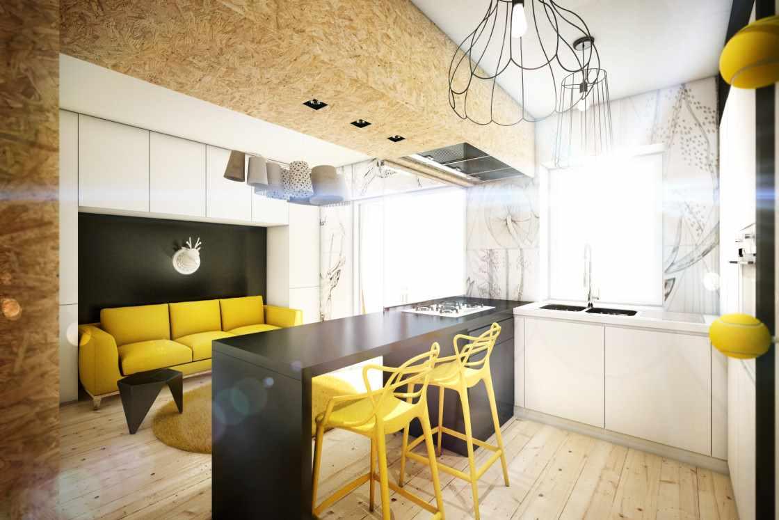 пример красивого декора кухни гостиной 16 кв.м