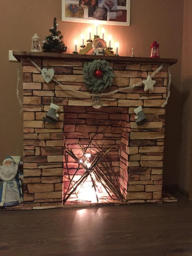 Декор камина из картона