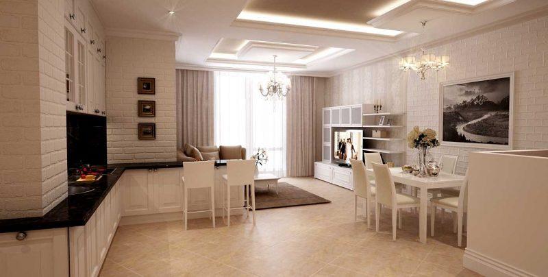 современный дизайн гостиной комнаты в светлых тонах