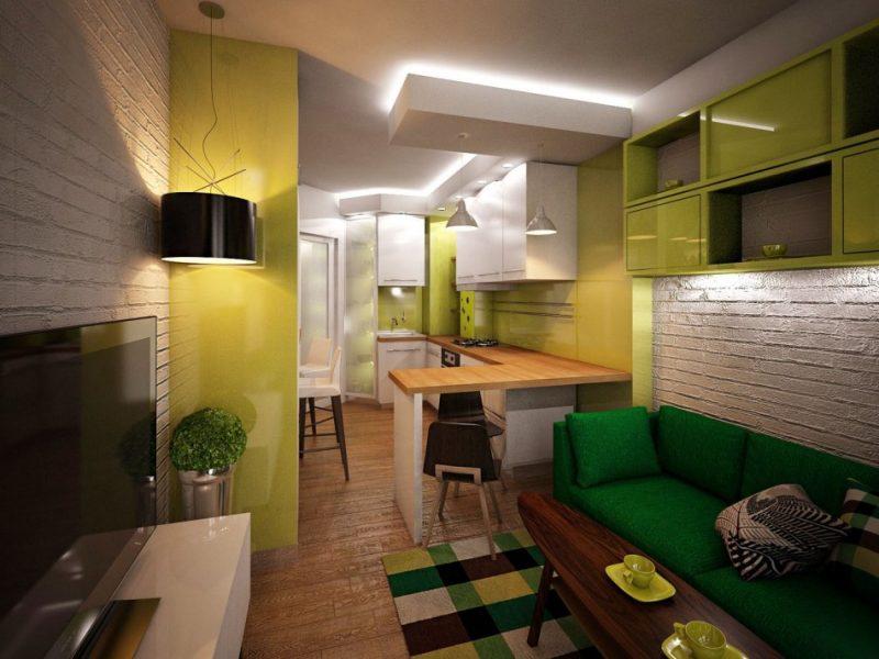 Зеленая кухня гостиная