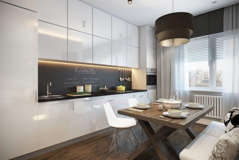 Линейная кухня гостиная