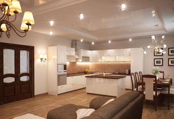 Островная кухня гостиная