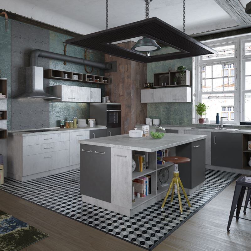 Дизайн кухни с островом в индустриальном стиле