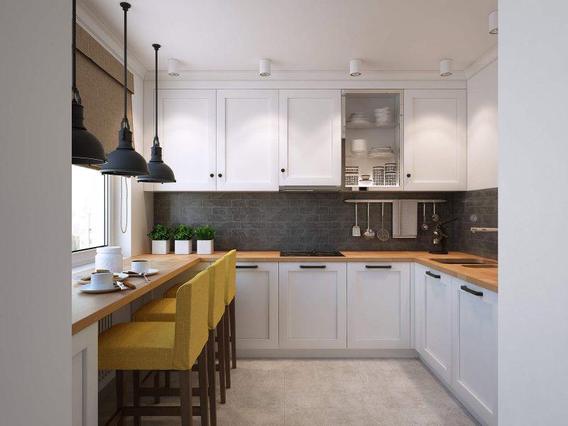 кухонный гарнитур с барной стойкой декор фото