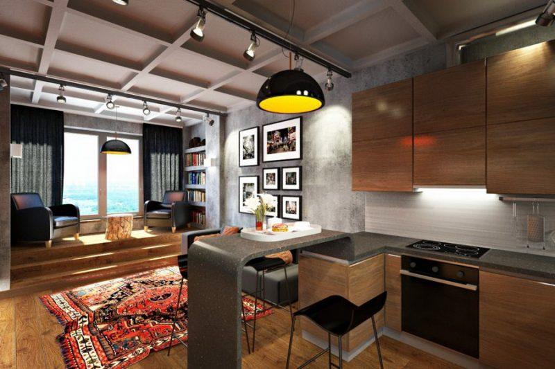 маленькая кухня гостиная идеи дизайн