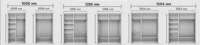 Размеры самых маленьких шкафов-купе и их примерное наполнение