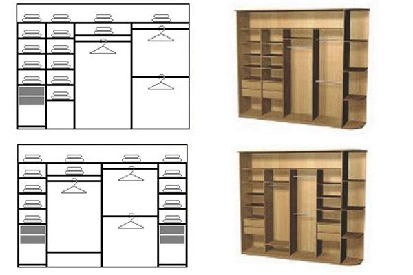 Схемы наполнения шкафа-купе