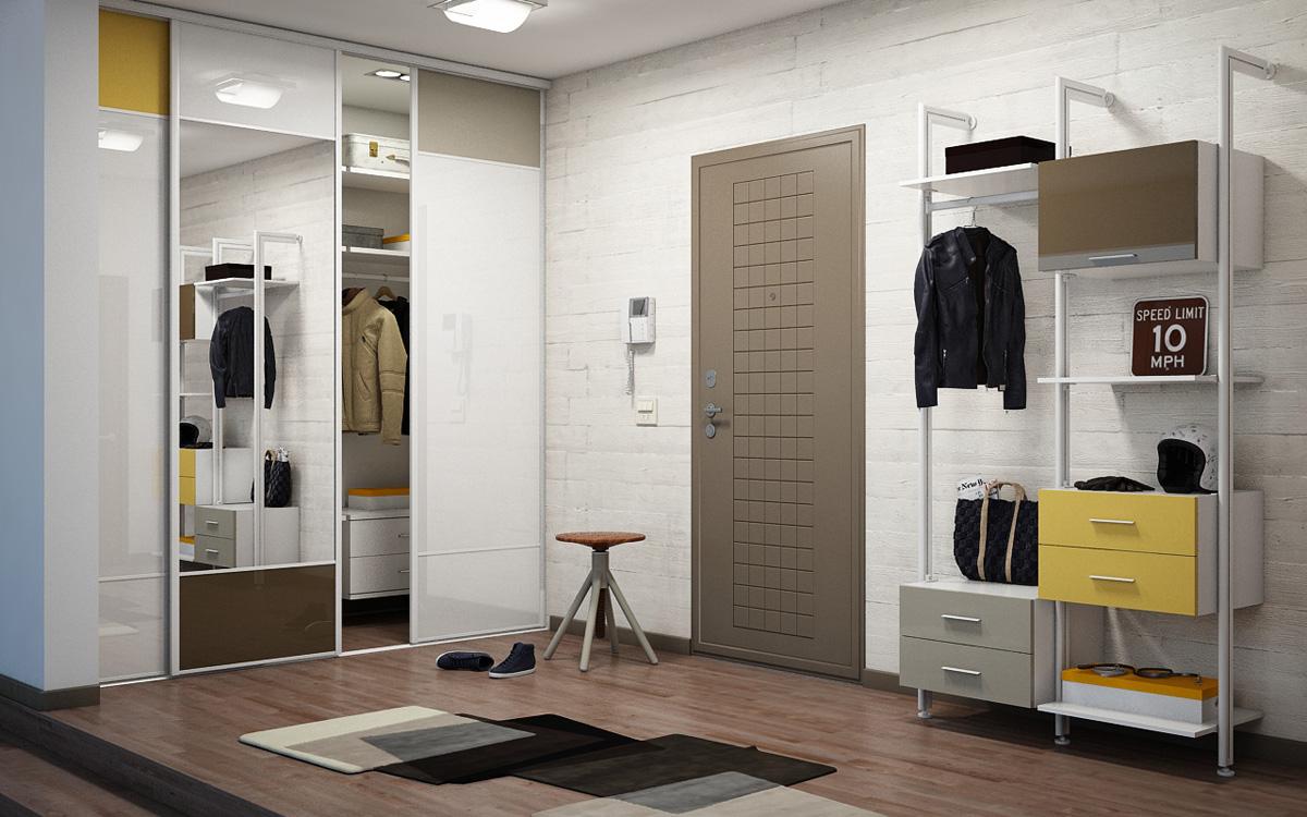 Встроенный шкаф-купе в прихожей с комфортным доступ во внутрь