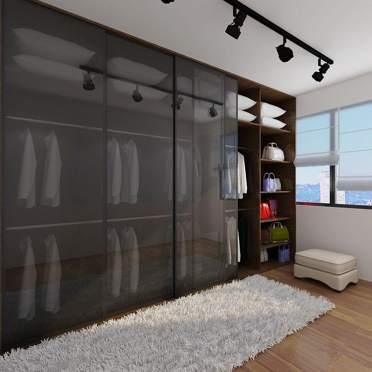 Прозрачный фасад шкафа позволит быстро сориентироваться в выборе наряда