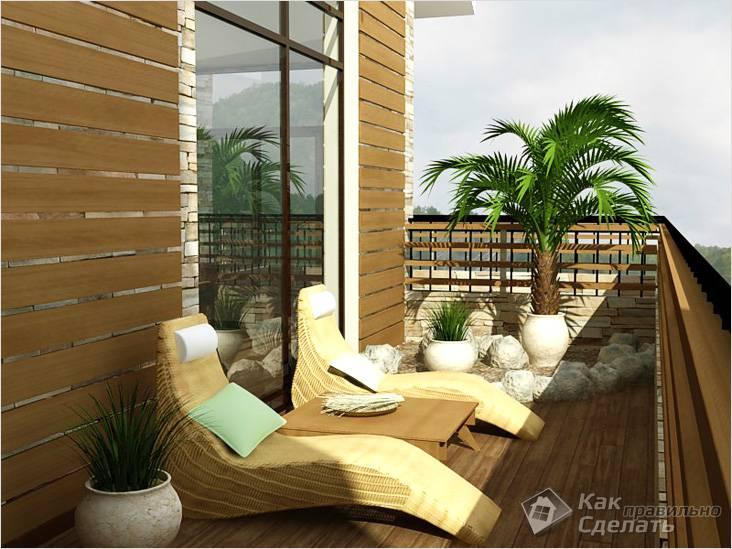 Отделка открытого балкона