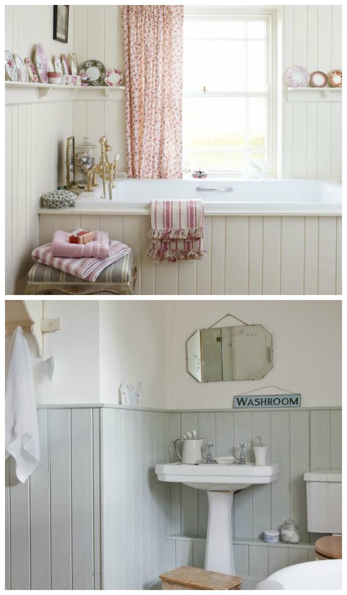 Фото отделки ванной комнаты пластиковыми панелями в сите прованс