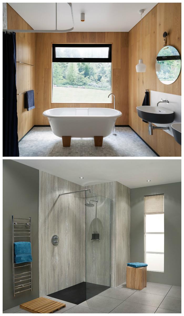 Отделка ванной пластиковыми панелями в стиле минимализм