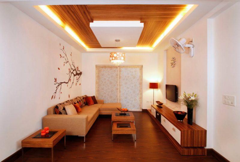 Оформление потолка зала гипсокартонной конструкцией