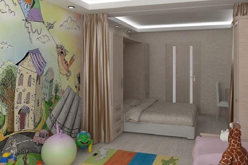 Дизайн спальни и детской в одной комнате - Отделка стен