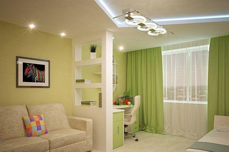 Дизайн спальни и детской в одной комнате - Отделка потолка