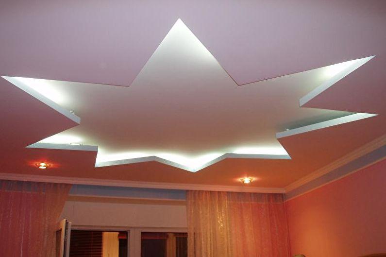 Потолок из гипсокартона в детской - Двухуровневый потолок