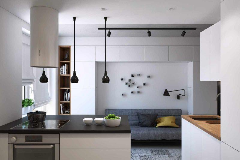 пример красивого дизайна кухни гостиной 16 кв.м