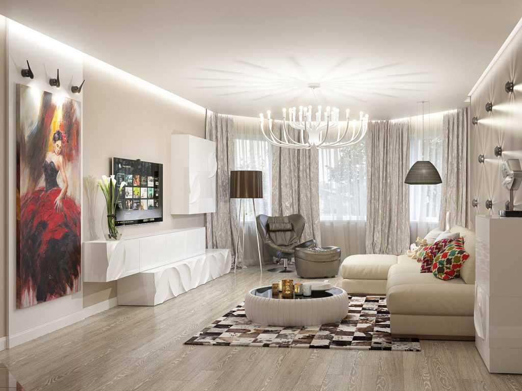 пример светлого дизайна гостиной комнаты с эркером