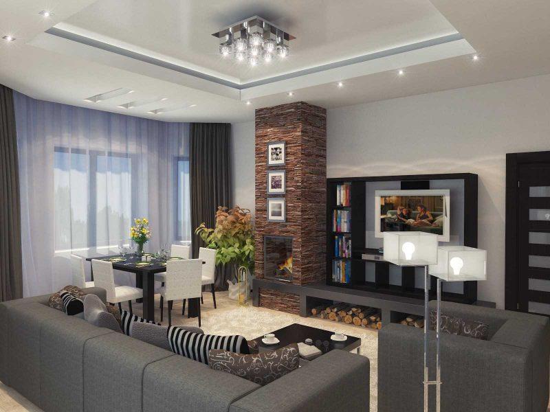 пример яркого декора гостиной комнаты с эркером