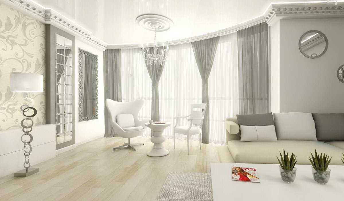 вариант яркого дизайна гостиной с эркером