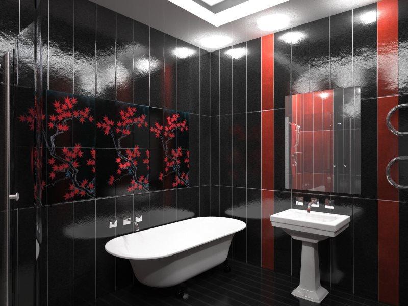 Черные панели из ПВХ в ванной с белой сантехникой
