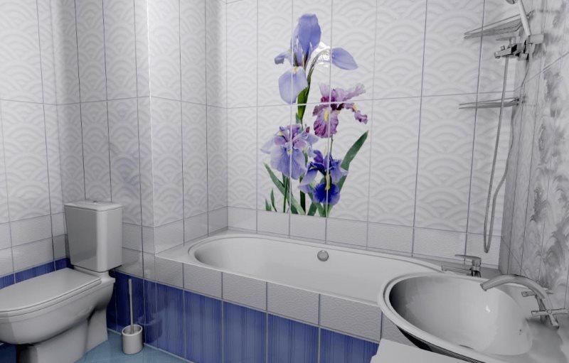 Сиреневые цветы на пластиковых панелях в ванной
