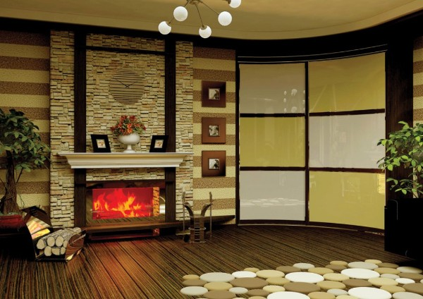 радиусный шкаф купе в дизайне современной гостиной