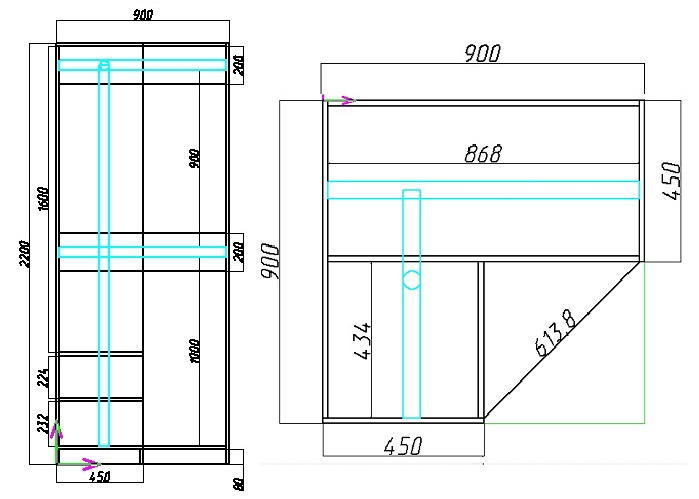 чертеж углового шкафа в прихожую с размерами