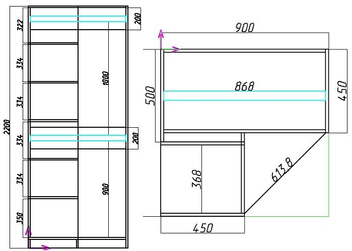 схема углового шкафа с 2 штангами