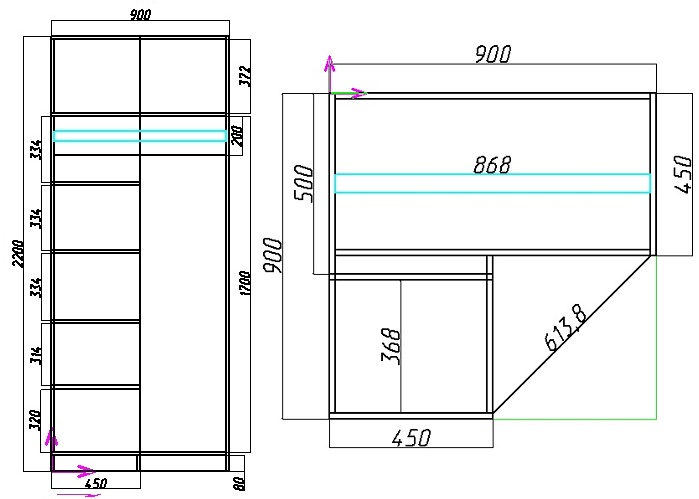 схема углового шкафа с полками и штангой с размерами